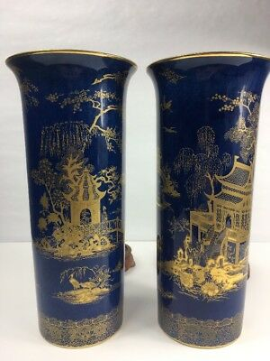 VINTAGE Carlton Ware Blue Gold Chinese Style Vase Two Vintage