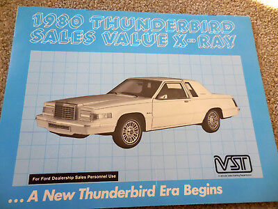 Original 1980 Ford THUNDERBIRD Sales Value X-Ray for Salesmen catalog brochure
