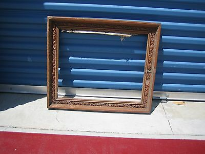 Vintage Decorated Picture Frame Floral Design Wood