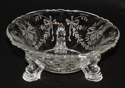 "PERFECT Vintage A. H. Heisey ""ORCHID"" Etched Dolphin-Footed MINT BOWL!"