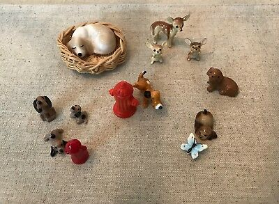 Lot of 13 Vintage Dog & Accessory Miniature Figurines - Hagen-Renaker & Others