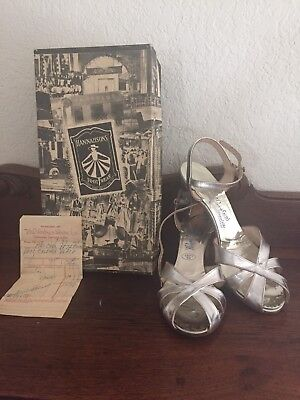 Vintage 1950's Silver Strappy Pumps sz 7.5 N W original Receipt & Box