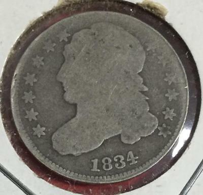 1834 US Capped Bust SILVER Dime! Old US Coins!