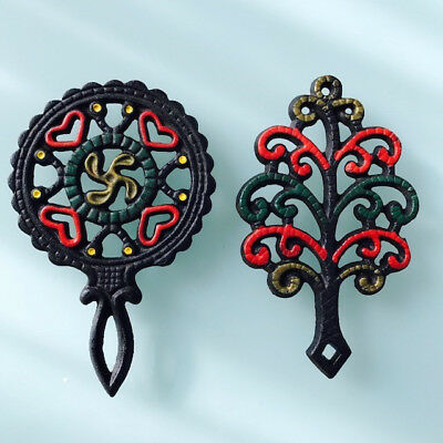 Wilton Cast Iron Trivets Vintage Heart and Propeller and Tree of Life-Lot of 2