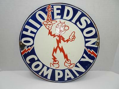 "Vtg Original Reddy Kilowatt Ohio Edison Porcelain Embossed 14"" Sign"