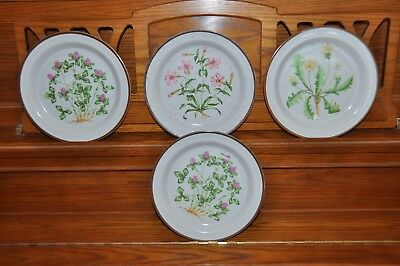"Japan Set 4 Salad/desert Plates 8 1/4"" Speckled/brown Rim Clover Dandelion Pink"