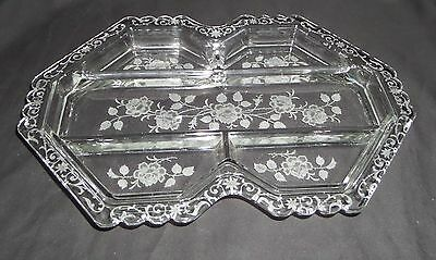 "Fostoria MIDNIGHT ROSE CRYSTAL *13 1/4"" 5 PART RELISH*"