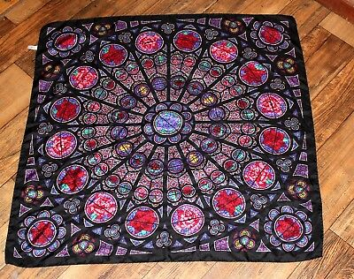 PAST TIMES Rose Stained Glass Window Chartres Cathedral pure Silk Scarf 34 x 34