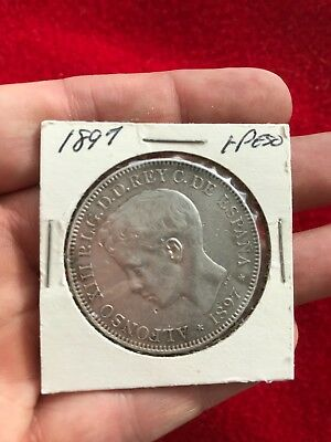 1897 Un Peso Phillippino Large Silver Coin