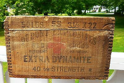 "Vintage/Antique DuPont Red Cross Dynamite Explosives Wooden Box 23-1/2"" x 12"""