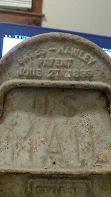 ANTIQUE U.S mail BATES-HAWLEY PATENT 1899 MAIL BOX CAST IRON Joliet, illinois