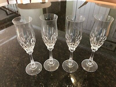 Lot of Four (4) Mikasa Crystal Normandy Champagne Flute Glasses
