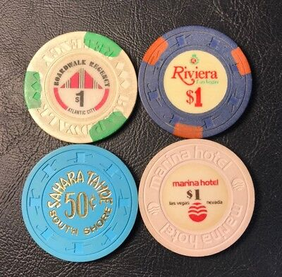 Lot of 4 Old Obsolete Vintage Casino Chips Riviera Marina Sahara Tahoe Boardwalk