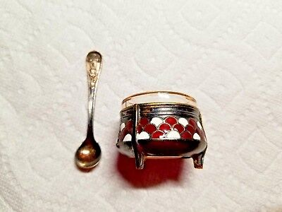 Vintage Russian Silver Alloy & Enamel Small Bowl Cup W/ Spoon For Mustard/caviar