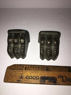 Antique Lot Of 2 Brass Furniture Claw Feet Covers FREE SHIPPING!!!