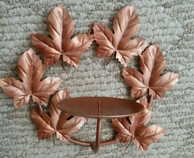 """Home Interior """"Leaves"""" Coppertone Metal Wall Candle Holder"""