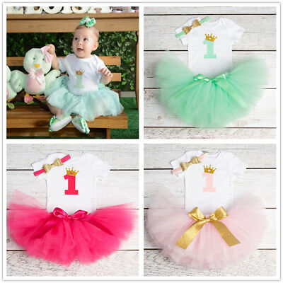 First 1st Birthday Outfit Photo Shoot Party Baby Girl Dress Romper Tutu Headband