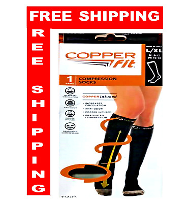 1 Pair Copper Fit Energy Knee High Compression Socks, Black L/XL~Ship from USA