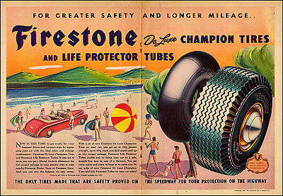 1940 vintage travel AD FIRESTONE Champion Tires and Tubes at the Beach    062217