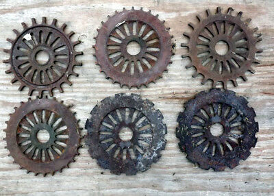 Lot of 6 Antique IH Corn Planter Seed Plates Cast iron very rusty
