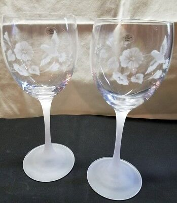 VINTAGE AVON Hummingbird 24% Crystal Goblets One Pair