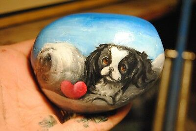 Original Painting~Japanese Chin~Dog~Hand Painted~SToNE~RoCK~Whimsical~Valentine