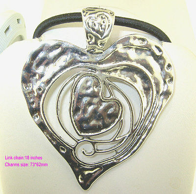 1PC Antique Silver New Extra Large Heart Within Heart Pendant Beads Necklace 18""