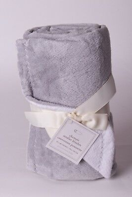 NWT Pottery Barn Kids Chamois solid gray stroller baby blanket crib