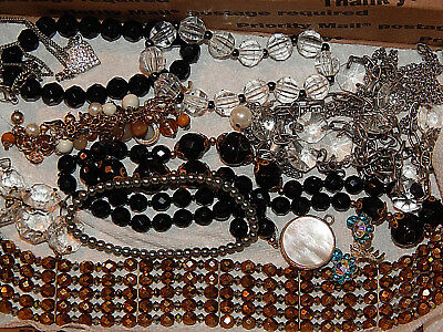 Big vintage lot of unsearched/unknown jewelry over 2 pounds of estate sale finds