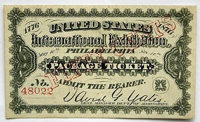 "1876 U.S. International Exposition ""Package Ticket"" 50 cents #48022 CH UNC C PIX"