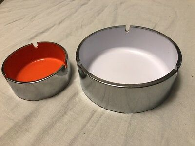PAIR OF vintage mid-century modern design -STEEL ENAMEL-ASHTRAY VERY COOl