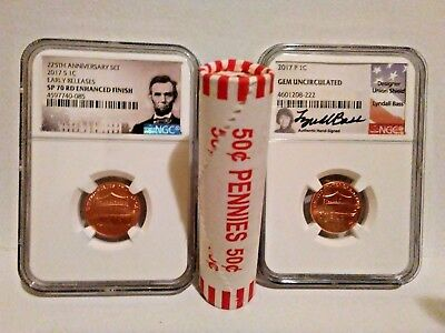 2017 S Enhanced Lincoln NGC SP70. 2017 P Lincoln cent Hand signed. 1 ROLL