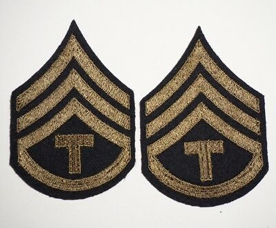 Tech Sergeant Tech3 Rank Chevrons Wool Patches WWII US Army P5979