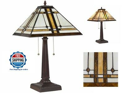 Stained Glass Table Lamp Tiffany Style Mission Antique Light Vintage Reading New