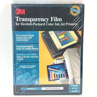 "3M Transparency Film HP Color Ink Jet Printers 50 Sheets NEW CG3460 8.5"" x 11"""
