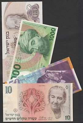 Y37 Israel collection of 4 Pick varieties incl. corrected 1000 sheqalim of 1983