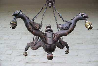 Gorgeous Antique wood carved gothic Dragons Griffin birds 4 arms chandelier 1900