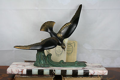 French XL  ART DECO 1930 spelter bronze Bird on marble base statue