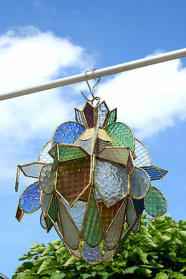 Unusual Antique French art deco 30's  Stained glass window  chandelier lantern