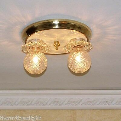 775 Vintage late 30's 40's arT Deco Ceiling Light Lamp Fixture hall  bath closet