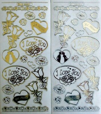 Embossed on Clear I Love You PEEL OFF STICKERS Kisses Hearts Roses Gold & Silver