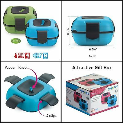 Best Lunch Box Pinnacle Insulated Leak Proof Blue/Green 1+1 Bento Containers