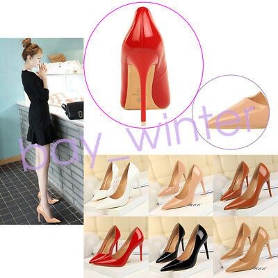 Women Patent Leather Shallow Mouth Wedding High Heel Pumps Pointed Heels Shoes