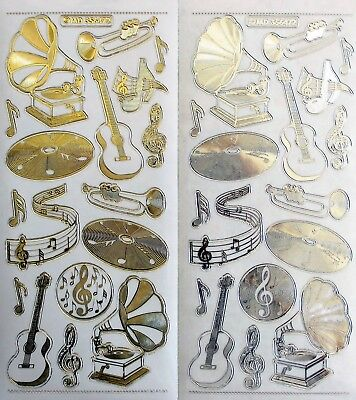 Embossed on Clear Music Guitar PEEL OFF STICKERS Records Player Notes Trumpet