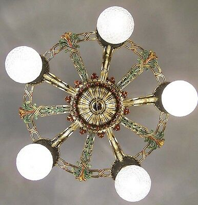 972 Vintage 20s 30s Ceiling Light  aRT Nouveau Poly-chrome Chandelier 5 light