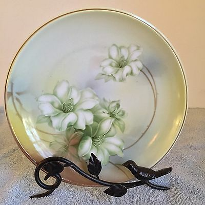 """RS GERMANY Fine China Plate  8.5"""" Handpainted Bavarian Gold White Green Gold Rim"""