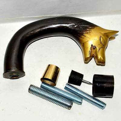 Brass Cane Walking Stick Handle Wolf Head Cast Brass w/ Outside Connector C55