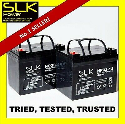 PAIR 2 x 12v 33AH MOBILITY SCOOTER BATTERIES - SAME SIZE AS 30AH 32AH 34AH 35AH