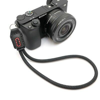 Premium Black Cord / Rope & Leather Camera Wrist Strap - Handmade by Cordweaver