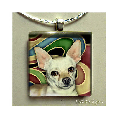 White Chihuahua Dog Necklace Jewelry Pet Gift Art Glass Tile Pendant Charm Chain
